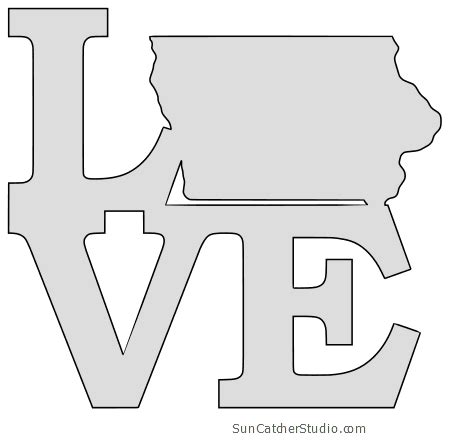 iowa map outline printable state shape stencil pattern