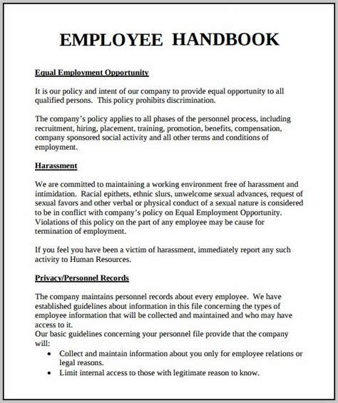 Employee Handbook Template Word Free