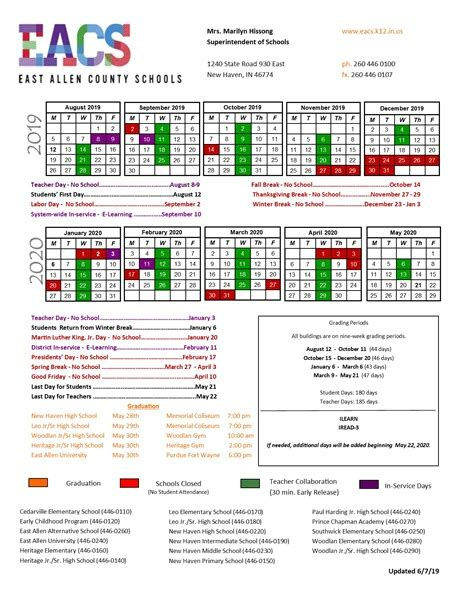district calendar east allen county schools