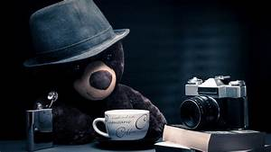 teddy bear books camera hat journalist cappuccino coffee ...