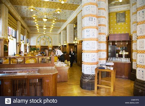nouveau cafe restaurant prague deco imperial hotel praha stock photo royalty free