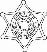 Badge Sheriff Coloring Star Point Six Police sketch template