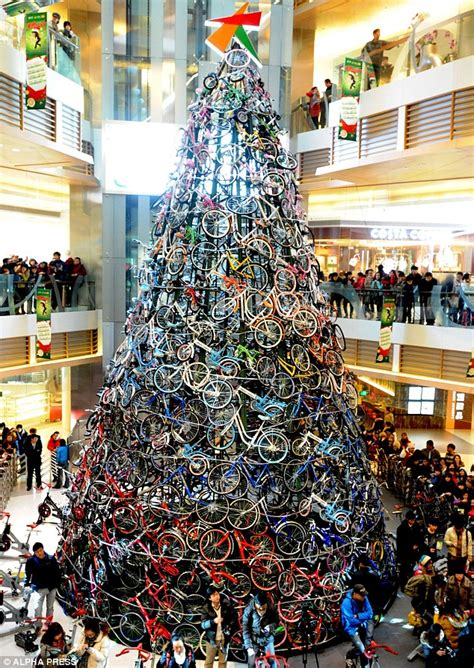 bicycle art christmas tree tree made of bicycles looking for something a different this festive season