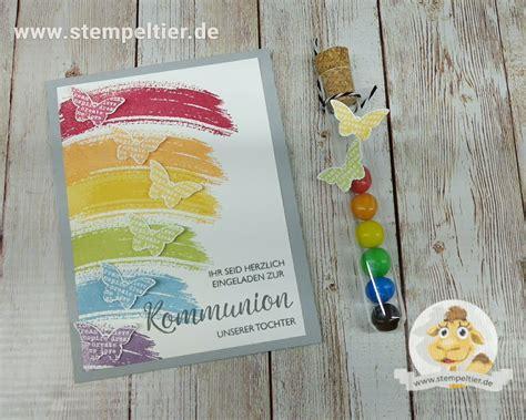 ein regenbogen zur kommunion einladungen stempeltier