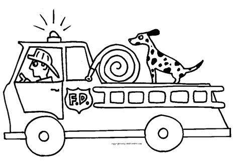 Fire Truck Fireman And Fire Dog Printable Coloring Page