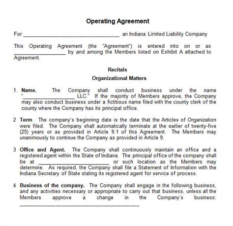 sample operating agreement templates