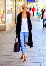 Outfits with Distressed Boyfriend Jeans