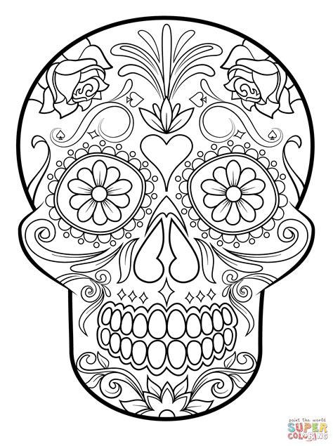 Simple Sugar Skull Coloring Pages Wwwpixsharkcom