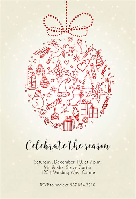 seasonal symbols christmas invitation template