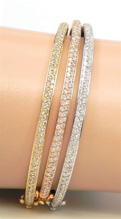 ladies  tri color gold  cts diamonds  bangles set