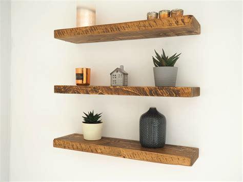 Wooden Floating Shelves by Rustic Floating Shelves Chunky Wood Shelf Mantel