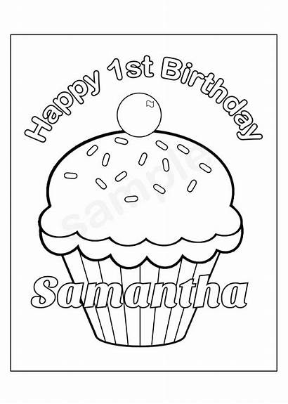 Birthday Personalized Printable Cupcake Cup Coloring Cake