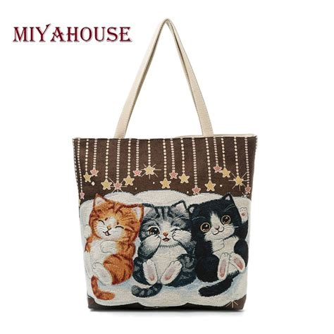 embroidery canvas shoulder bag miyahouse cats print canvas shoulder bag large