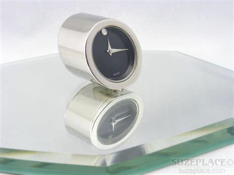 movado mini desk clock movado small desk clock black silver tone sleek