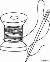 Thread Coloring Spool Needle Template sketch template