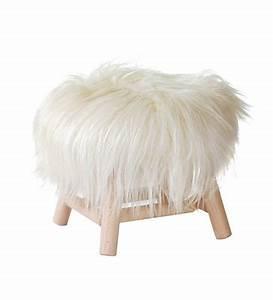 Tabouret A Poils : tabouret moumoute small h 27 cm peau de mouton v ritable bois poils longs blanc fab design ~ Teatrodelosmanantiales.com Idées de Décoration