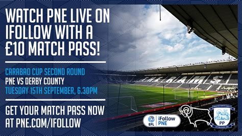 Watch Our Carabao Cup Tie At Derby County On iFollow PNE ...