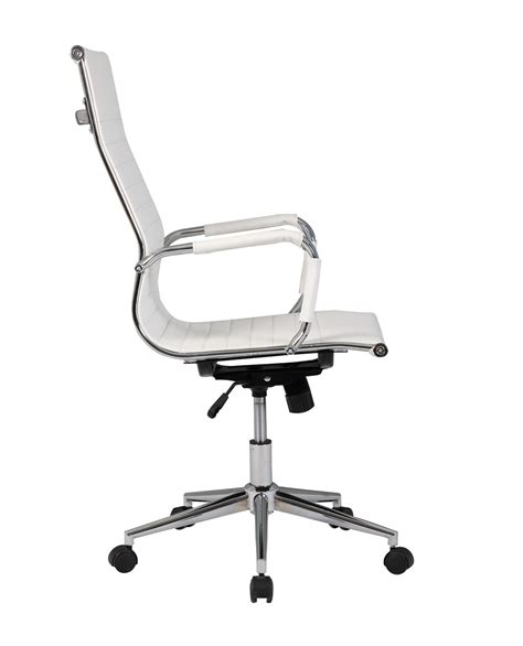 white executive desk chair modern high back white ribbed upholstered pu leather