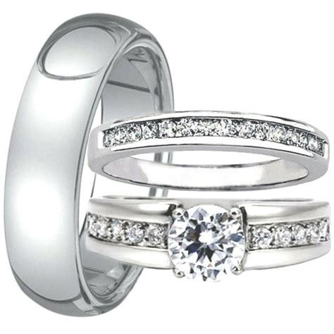his hers engagement cz women match wedding ring men tungsten 6 mm band ebay