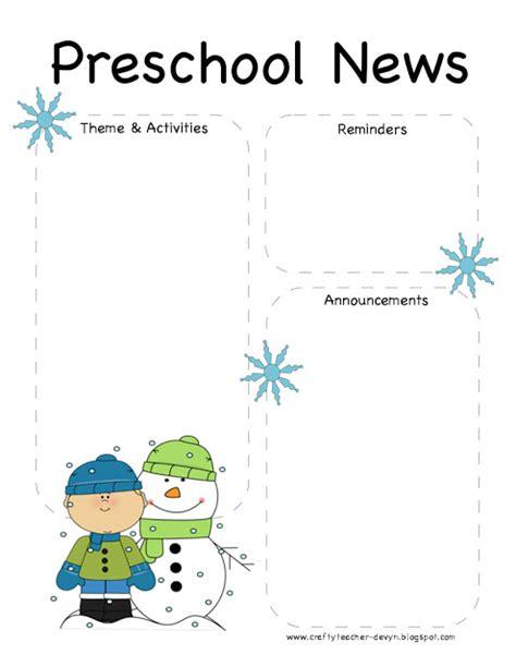 preschool winter newsletter template  crafty teacher