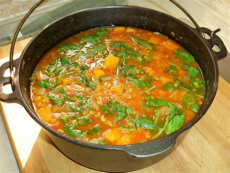 curried butternut red lentil soup  chard lentil