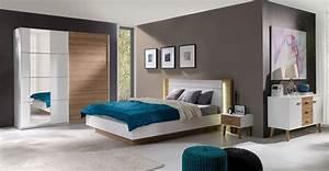 Schlafzimmer Komplett Weiß : schlafzimmer komplett aurora wei wildeiche mit led ~ Orissabook.com Haus und Dekorationen