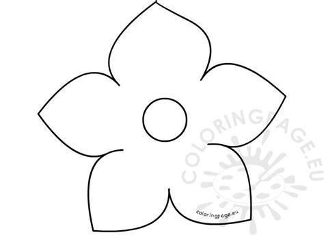 Flower Template 5 Petals by Printable Five Petal Flower Template Coloring Page