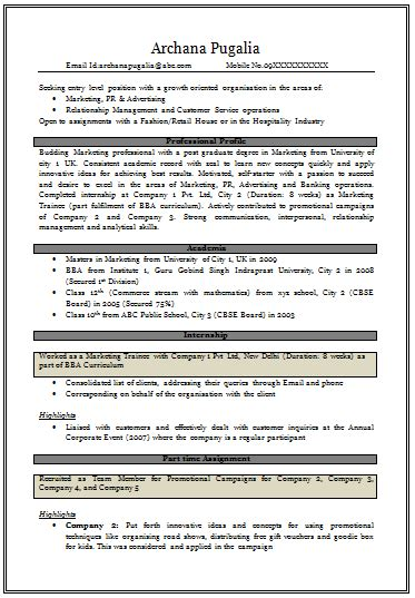 cv format for freshers doc download over 10000 cv and resume sles with free download resume for mba fresher in marketing