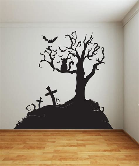 vinyl wall decal sticker halloween tree