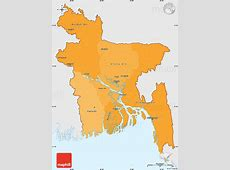 Political Shades Simple Map of Bangladesh, single color