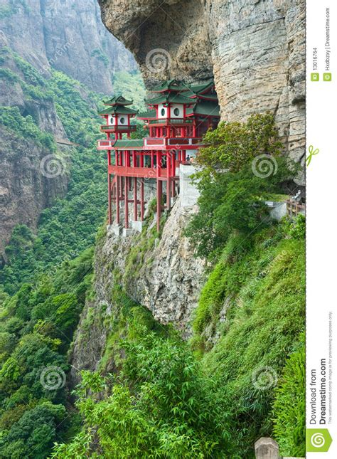 chinese temple  mountainside stock images image