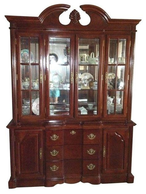 Wooden China Cabinet by Dark Cherry Wood China Cabinet Traditional China