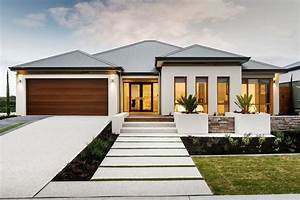 house model exterior transitional with wood garage door