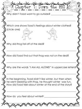 frog  toad  year reading comprehension pack