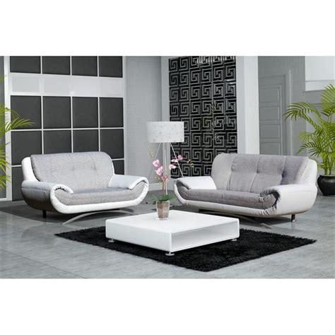 canapé 3 et 2 places canape design 3 2 places revetement pu et tissu achat