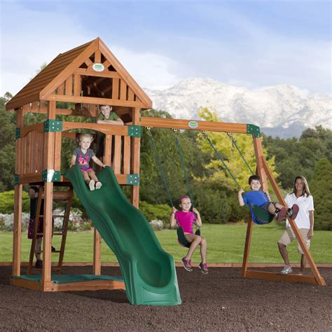 Backyard Play Set by Backyard Discovery Trek All Cedar Swing Set Bj S