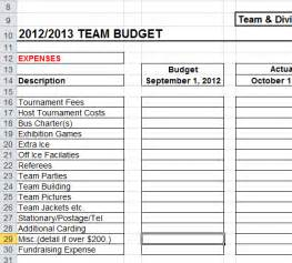 Monte Carlo Excel Template Sports Team Budget Template Spreadsheet