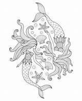 Mermaid Coloring Mermaids Printable sketch template