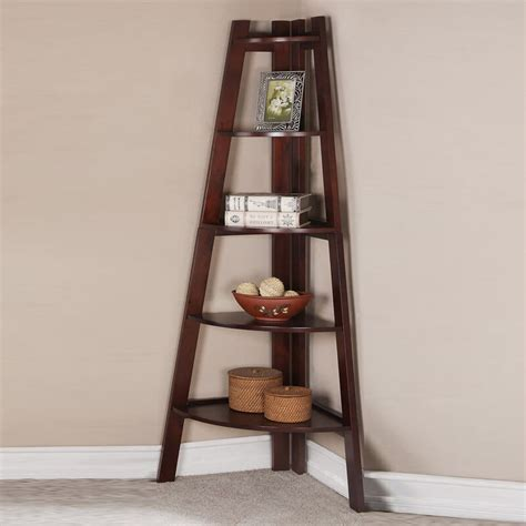lovely contemporary sleek walnut corner shelf bookcase