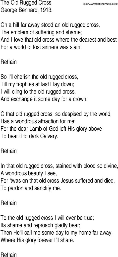 To The Rugged Cross Lyrics by Hymn And Gospel Song Lyrics For The Rugged Cross By