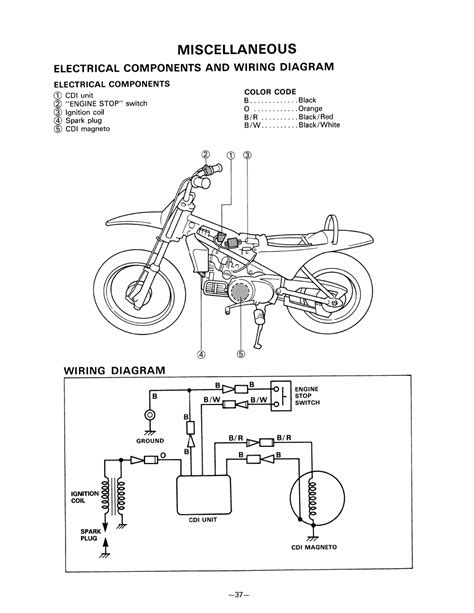 miscellaneous electrical components and wiring diagram electrical components yamaha pw80