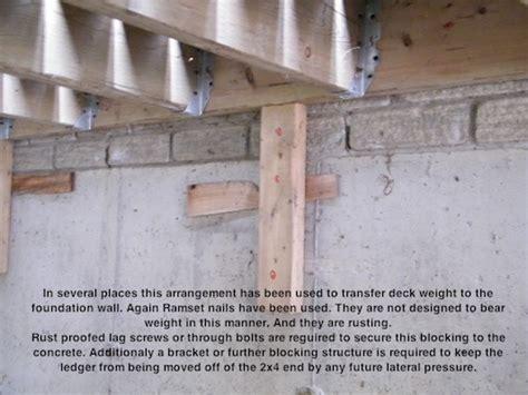 porch deck ledger to buildings deck building deck building ledger
