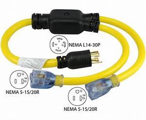 Conntek Yl1430520s 3ft Generator Splitter Cord 4