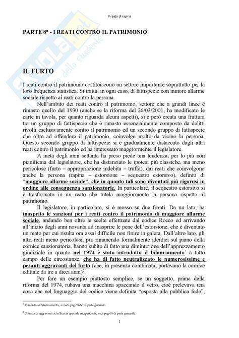 Dispensa Diritto Penale by Diritto Penale Reati Contro Il Patrimonio Appunti