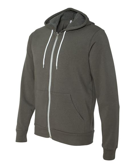 canvas unisex full zip hooded sweatshirt
