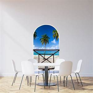 arch balcony 3d wall mural huge size beautiful beach and With beautiful beach decals for walls