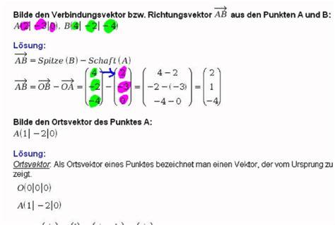 vektor aus zwei punkten ortsvektor youtube