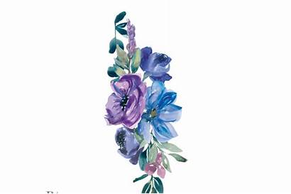 Purple Clip Flowers Watercolor Painted Hand Thehungryjpeg