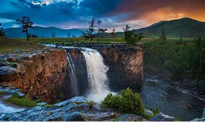 Waterfall Sunset Mountain River Clouds Sky Nature