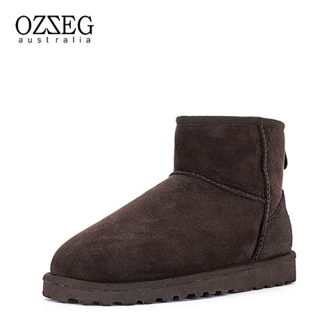 Brand Winter Snow Boots Man Ankle Genuine Leather